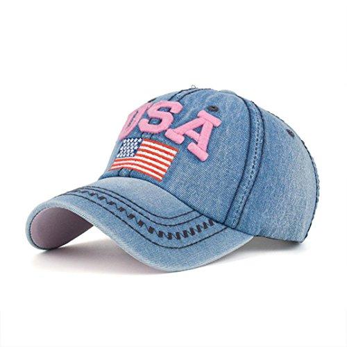 Hatop Women Men USA Denim Rhinestone Baseball Cap Snapback Hip Hop Flat Hat (Pink)
