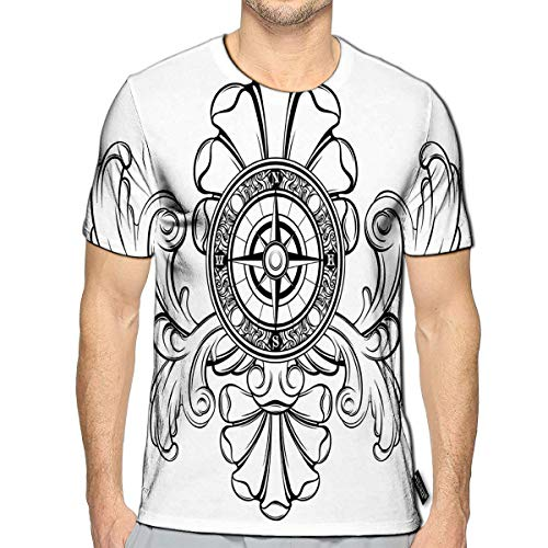 3D Printed T-Shirts Compass Baroque Detail Creative Tattoo Short Sleeve Tops Tees c