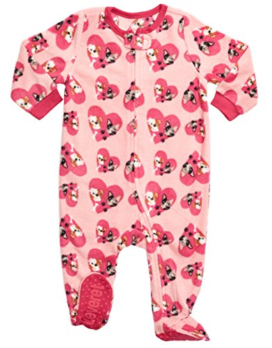 Leveret Kids Fleece Baby Girls Footed Pajamas Sleeper 100% Polyester (Bulldog, Size 12-18 Months)