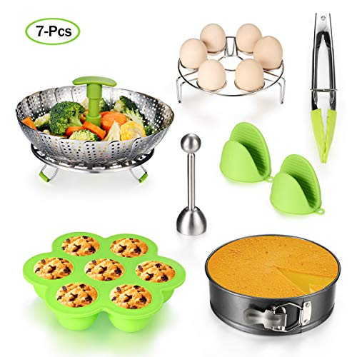 (Accessories for Instant Pot Set - 5,6,8 Qt Pressure Cooker Accessories Set with Steamer Basket,Eggshell Cutter,Egg Rack,Egg Bites Mold,Non-Stick Springform Pan,Tong,Silicone)