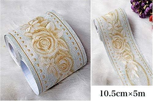 [スポンサー プロダクト]トリムボーダー 壁紙シール リメイクシート 3D 立体 薔薇柄 はがせる 壁紙ボーダーシート (ブルーグリーン)