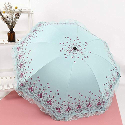 - GONGFF Umbrella Folding Umbrella Mini Seaweed Lace Umbrella Uv Protection Sun Protection Three-Folding Umbrella for Women,C