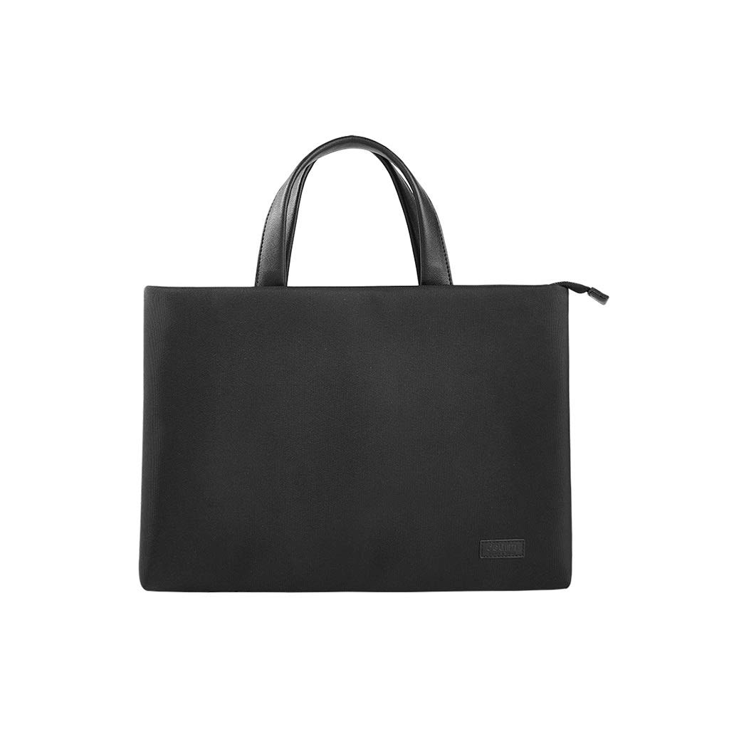 Briefcase Men's File Bag Canvas Handbag Waterproof and Thickened Zipper File Bag Black 39×29cm (Color : Black, Size : 39×29cm) by QSJY File Cabinets