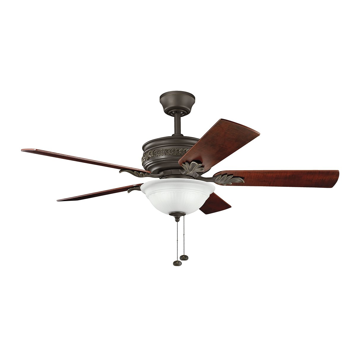 Kichler Lighting 300158SNB Athens 52 Inch Ceiling Fan, Satin Natural Bronze  Finish With Reversible Walnut/Lipplewood Blades And Etched Opal Light Kit  ...