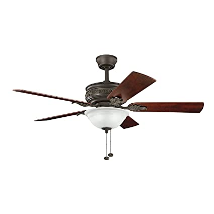 Kichler lighting 300158snb athens 52 inch ceiling fan satin natural bronze finish with reversible