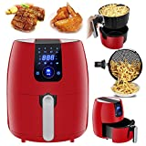 SUPER DEAL PRO XL Hot Air Fryer Family Size 3.7 Qt. 8-in-1 Digital Airfryer + Recipe Books, Classic Red