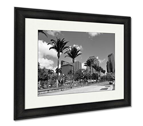 Ashley Framed Prints Honolulu Skyline, Modern Room Accent Piece, Black/White, 34x40 (frame size), Black Frame, - Honolulu Marketplace