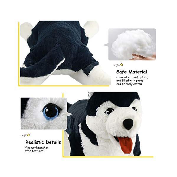 Houwsbaby Large Lifelike Husky Stuffed Animal Soft Dog Plush Toy Cuddly Alaskan Malamute Puppy Gift for Kids Boys Girls Pets Home Decoration Holiday Birthday, 27.5'' (Husky) 4