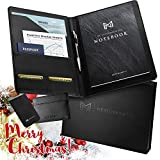 Professional Business Portfolio for Resumes, Legal Documents & More - Executive Padfolio/ Legal Document Organizer with Adhesive Phone Wallet, Card Wallet & Notebook - Bonus Ebook