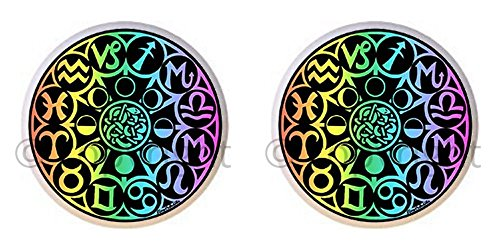 SET OF 2 KNOBS - Zodiac Hologram - Zodiac Astrology - DECORATIVE Glossy CERAMIC Cupboard Cabinet PULLS Dresser Drawer (Ceramic Zodiac)