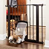 North States MyPet 38' wide Petgate Passage: Secure gate with small lockable pet door. Pressure Mount. Fits 29.8' - 38' wide (30' tall, Matte Bronze)