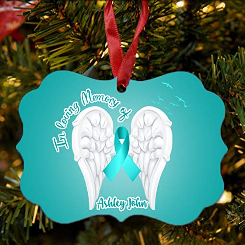 Cancer Ornament Tree Christmas - BRGiftShop Personalized Custom Name Ovarian Cancer Wings Ribbon In Loving Memory Christmas Tree Ornament