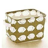 MEXUD-Linen Desk Storage Box Jewelry Cosmetic Holder Stationery Organizer Case Bag (4# Hedgehog)