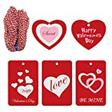 #5: Cualfec 100 Pcs Red Valentine Tags With String for Valentine's Day Gift Wrapping Price Labeling - 5 Designs