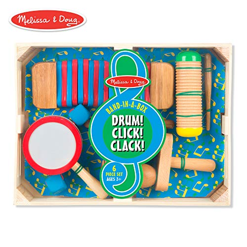 Melissa & Doug Band-in-a-Box Drum! Click! Clack! - 6-Piece Musical Instrument Set -
