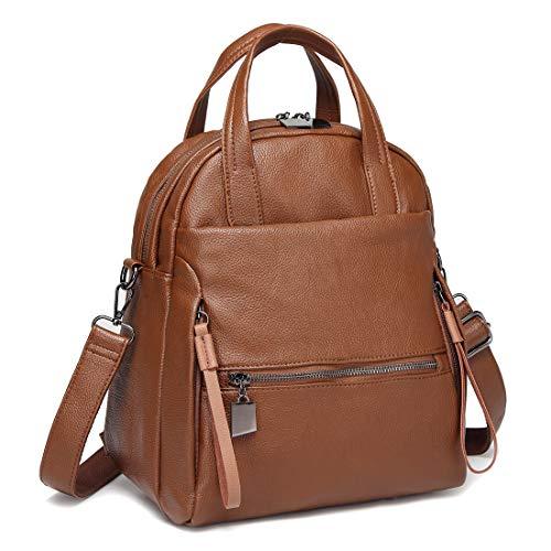 Kasqo Backpack Purse, Women Convertible Faux Leather Ladies Shoulder Bag Brown