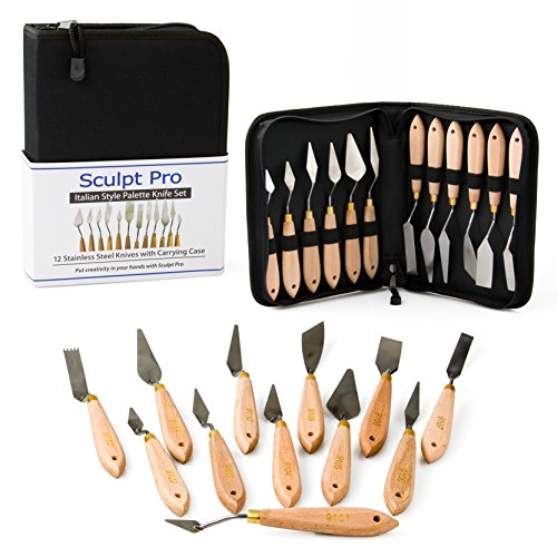 Palette Painting Knife Set- 12 Stainless Steel Art Palette Knives with Carrying Case by Sculpt Pro
