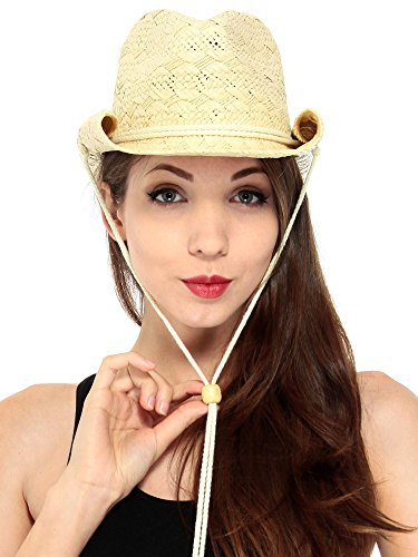 Simplicity Men's & Women's Western Style Straw Cowboy Cowgirl Hat Button Band Orange