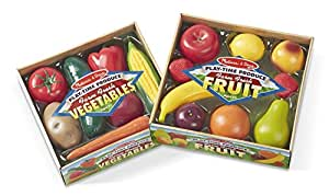 Melissa & Doug Play-Time Produce Fruit (9 pcs) and Vegetables (7 pcs) Realistic Play Food