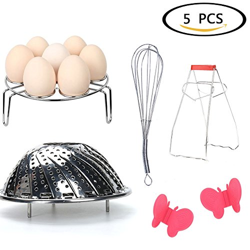 Baring 5 Piece Instant Pot Accessories Set, Bundle Includes High Carbon Springform Pan, Stainless Steel Stirring,Silicone Baking butterfly Anti-hot Gloves, Egg Steamer Rack & Bowl Dish Clip
