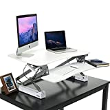 Adjustable Standing Desk, HANKEY 35 Inches Wide Sit Stand Desk Converter Ergonomic Workstation with Removable Keyboard Tray, 2 Tier Office Desk Stand with 12 Height Adjustment Levels, White