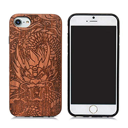 - Natural Wood Back Cover Unique Natural Solid Wood Engraving Pattern TPU Bumper Protective Wooden case Compatible with iPhone 6S iPhone7 iPhone8, iPhone 7 Case, iPhone 8 Case (Rose Long)