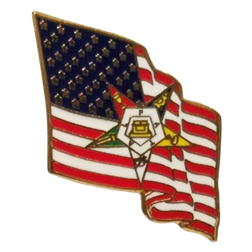 Hattricks Goodimpression American Flag Order of The Eastern Star Gold Plated Lapel Pin - Emblem Lapel Flag Pin