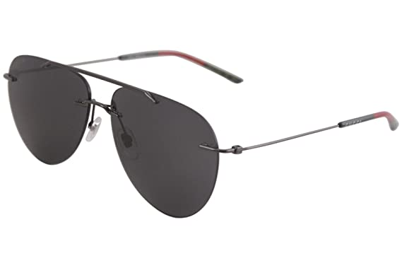 3d389741e6a Gucci Rimless Aviator GG 0397S 001 Ruhtneium Metal Rimless Sunglasses Grey  Lens