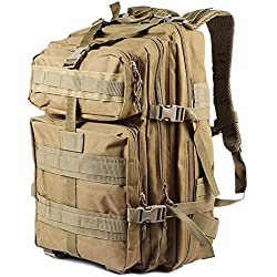 NACATIN Tactical Military Backpack for Men, 45L Military Molle Bag Backpacks Rucksacks for Outdoor Hiking Camping Trekking Hunting (Khaki)