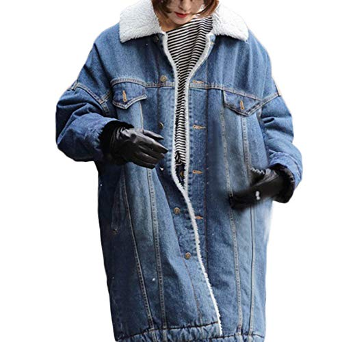 BODOAO Women Winter Coat Denim Long Jean Jacket Overcoat Faux Shearling ()