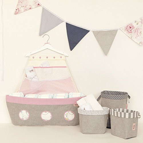 Baby girl new born shower gift - ''MEDIO'', Boat shaped organizer, Fabric storage boxes set and a triangle banner. by Pockets Baby & kids