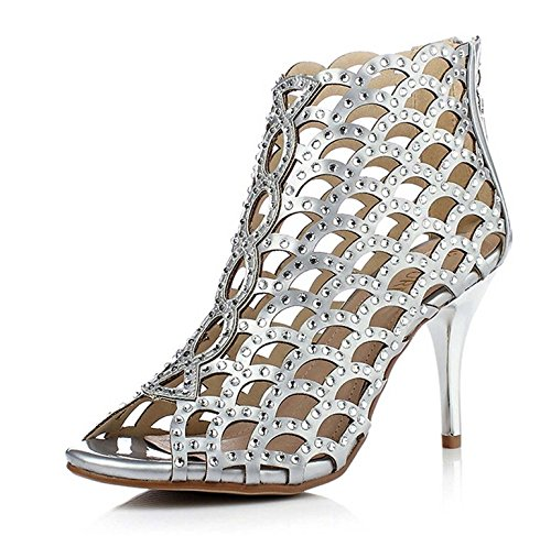 shiybugou Women's Sparkle Crystal Sandals Cutouts Dress High Heels Pumps silver Feet long 22.5 cm /8.86