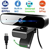 Full HD 1080P Web Camera (30fps), Plug & Play USB Webcam with Built-in Dual Microphone, Multi-Compatible, for Video Conferencing, Recording, and Streaming