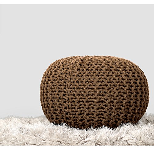 RAJRANG BRINGING RAJASTHAN TO YOU Designer Cotton Cord Macrame Ottoman Light Brown Knitted Children Pouf Decorative Indian Ethnic Dori Style Living Room Seating, 19x13,