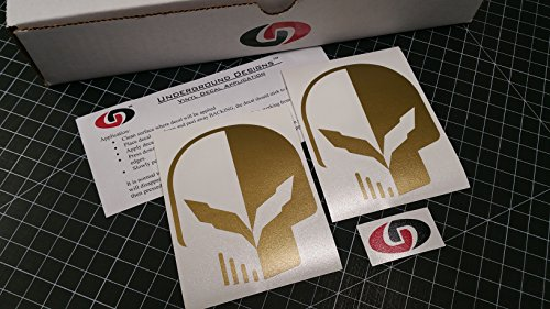UNDERGROUND DESIGNS C7 Skull Two-Face Decal Corvette Jake Skull Sticker Z06 Z07 LT1 LT4 Select Color: (Metallic Gold)