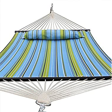 Quilted Fabric Double Size Spreader Bar Heavy Duty Portable Outdoor Camping Hammock with Pillow