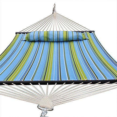 Cheap  SUPER DEAL Upgraded Quilted Fabric Hammock with Pillow, Double Hammock with Wood..