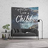 Society6 Wall Tapestry, Size Large: 88'' x 104'', Christian Quote - I am a Child of God by thebethelstore