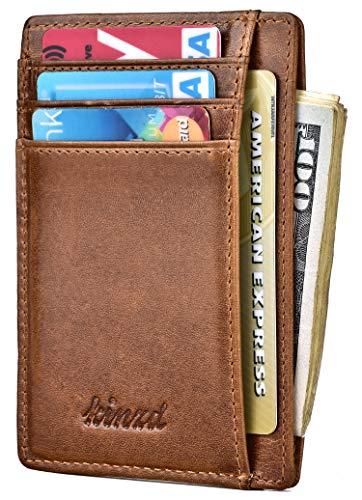 Slim Wallet RFID Front Pocket Wallet Minimalist Secure Thin Credit Card Holder (Crazy Horse brown)