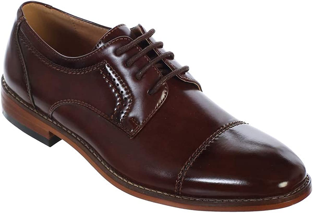 Little Boys Brown Capped Toe Oxford Dress Shoe for Special Occasion