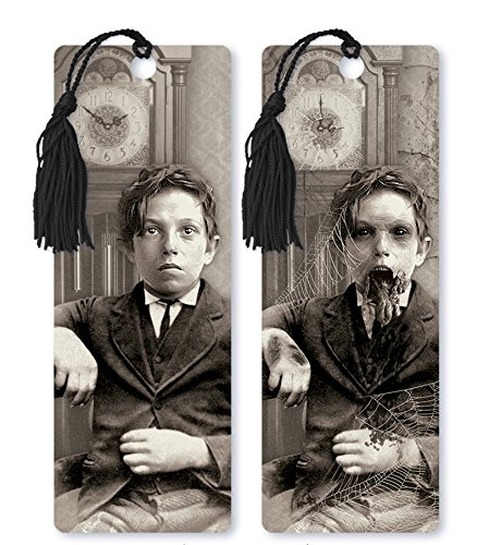 Dimension 9 3D Lenticular Bookmark with Tassel, 1800s Zombie Boy with Clock, Black/White (LBM109) -