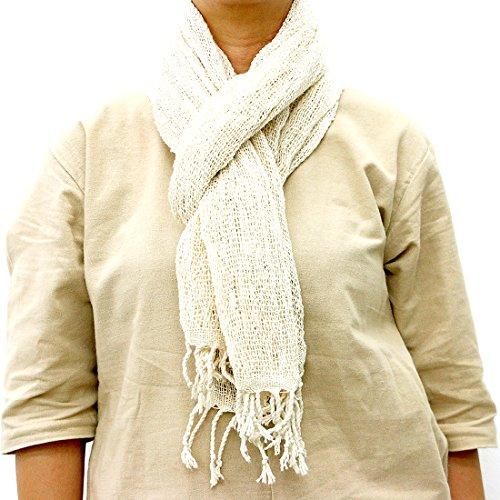 Taruron Woven Net Cotton Plain or Multi Colors Summer fashionable Scarf (Beige)
