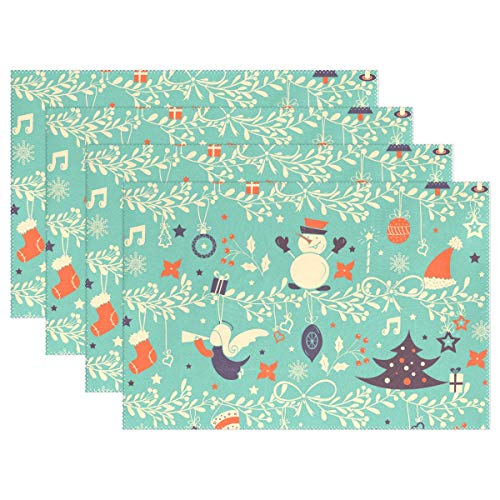 (Christmas Snowman Stocking Placemats for Kitchen Set of 6 Table Mat Home Plate Mat Heat Resistant Washable, 12x18 inches)