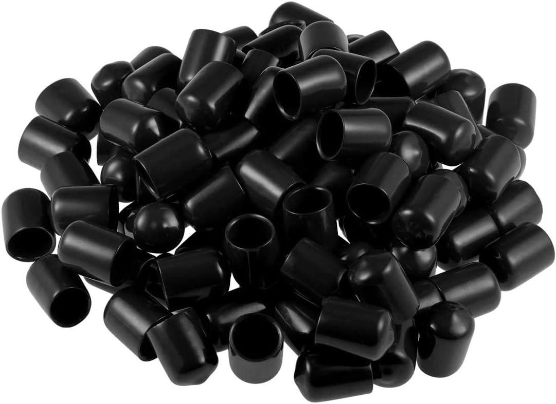 16mm ONLYTU 50pcs Rubber Screw Protectors Bolt Cover Screw Thread Protectors Round End Tube Caps Black Assorted Inner Dia 5//8