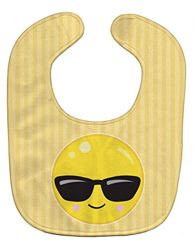 Caroline's Treasures Cool Sunglass Face Baby Bib, Beige, Large