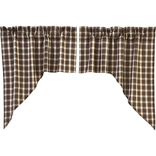 VHC Brands Rustic & Lodge Farmhouse Kitchen Window Curtains - Rory Brown Swag Pair, Gold