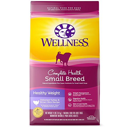 - Wellness Complete Health Natural Dry Small Breed Healthy Weight Dog Food, Turkey & Rice, 12-Pound Bag