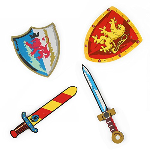 Fire Ninja Costume (Foam Swords and Shields (Fire Breathing Red Steel Lion Vs Ruby Golden Lion) Pretend Playset For Kids, 2 Pack, Red Yellow and Blue White Color, Warrior Ninja Pirate by Kinder Toys Network)