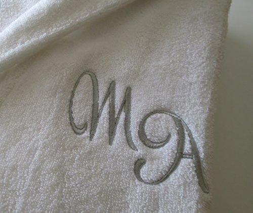 White spugnoso medium personalizzato in a Nome collo davanti tessuto 100 cotone accappatoio scialle Cotone bianco O6xWnBwW