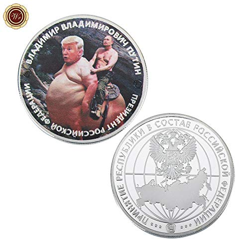 Price comparison product image V / P- 1 oz 999 24k Silver Plated Coin Trump and Putin Kuso Metal Coin Commemorative Funny Silver Coin for Festival Gifts,  repilca toys
